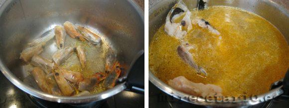 Elaboración del caldo o fondo de pescado