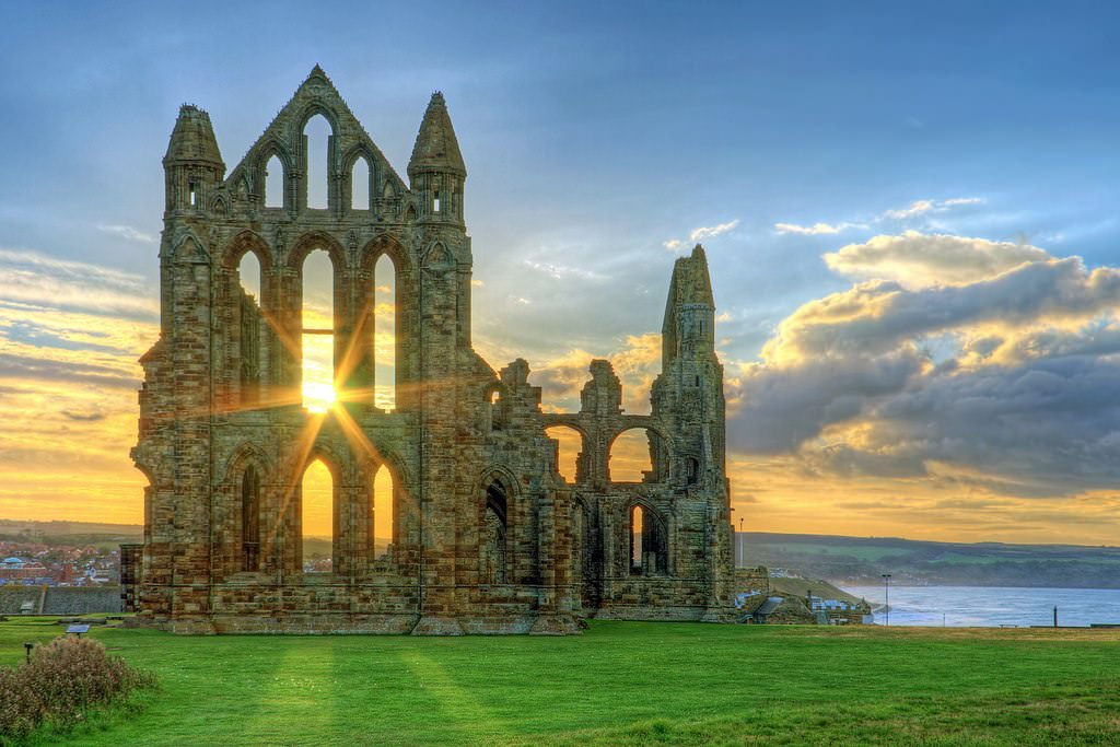 Ruins of Whitby Abbey Monastery. North Yorkshire, England
