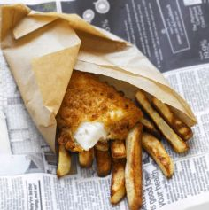 Fish-and-chips-wrapped-in-newspaper