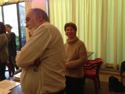 Spencerian workshop participants Edward Gardner and my calligraphy tutor, Paola Bontadini, at Centro Sociale Giorgio Costa, Bologna, 3 April 2016 (photo: Miriam Jones).