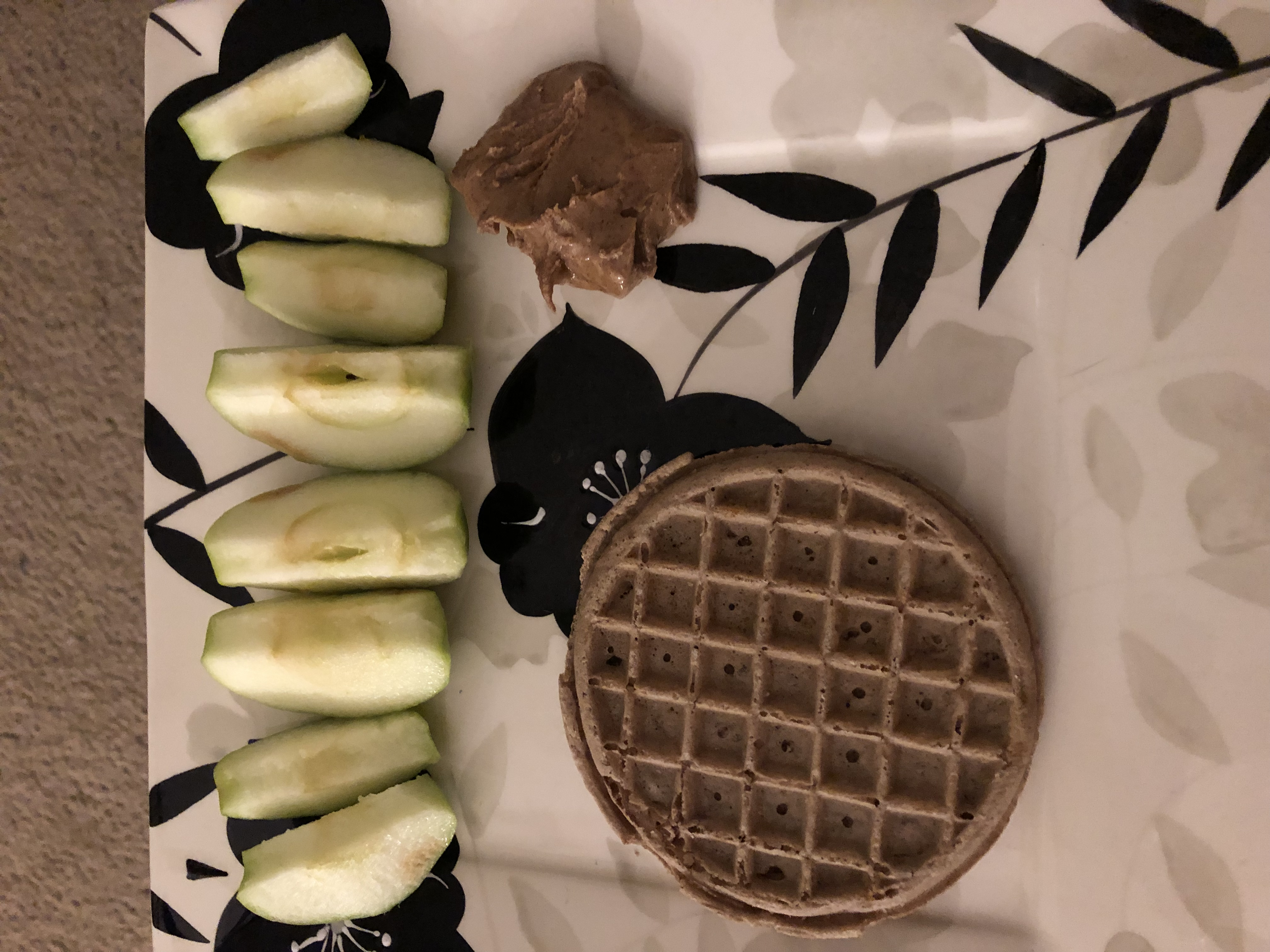 Waffles with apple and almond butter