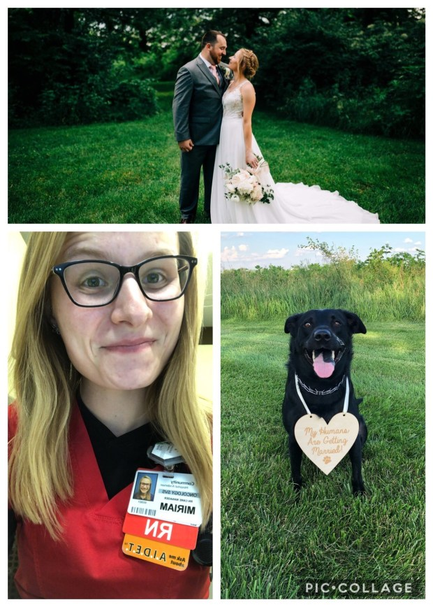 Wedding photo, nurse photo, and Chance