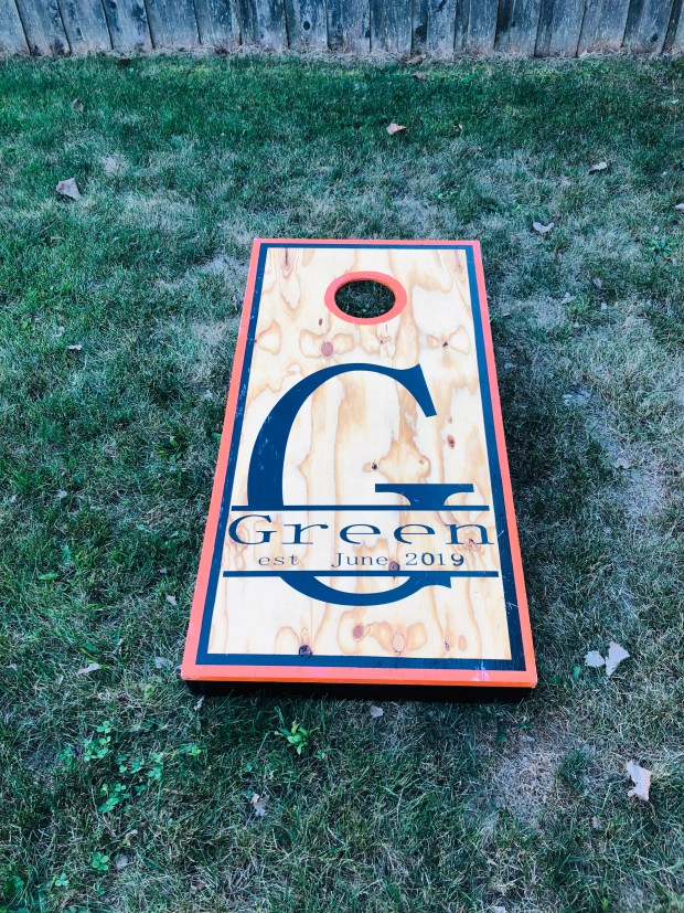 Cornhole in the backyard