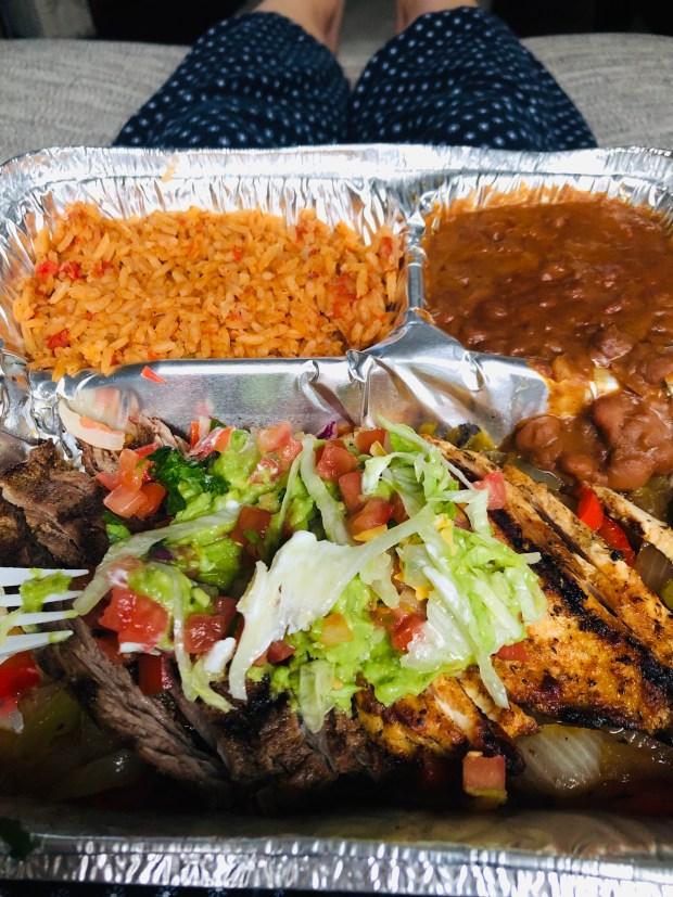 Chicken and steak fajitas with veggies