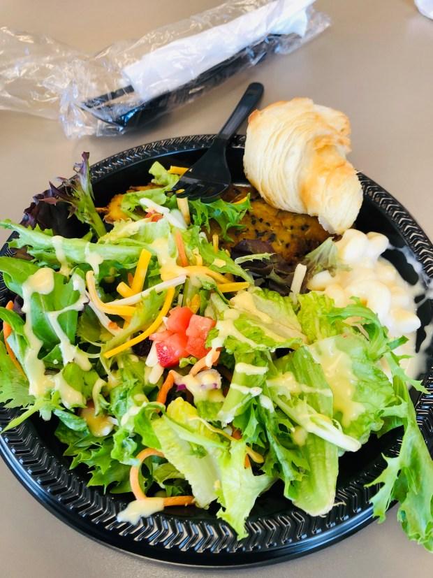 Salad, chicken, macaroni, and roll