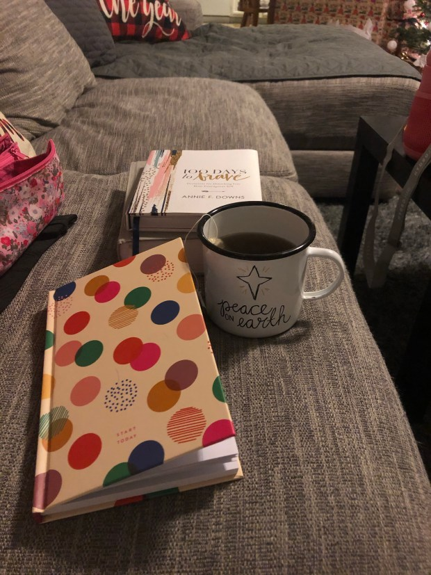 Start Today journal, devotional, and green tea
