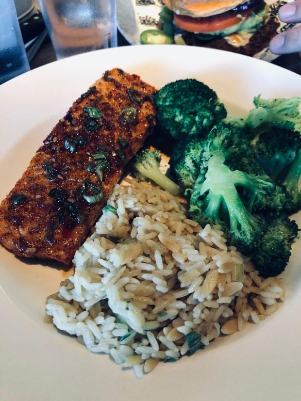 Salmon, rice, and broccoli