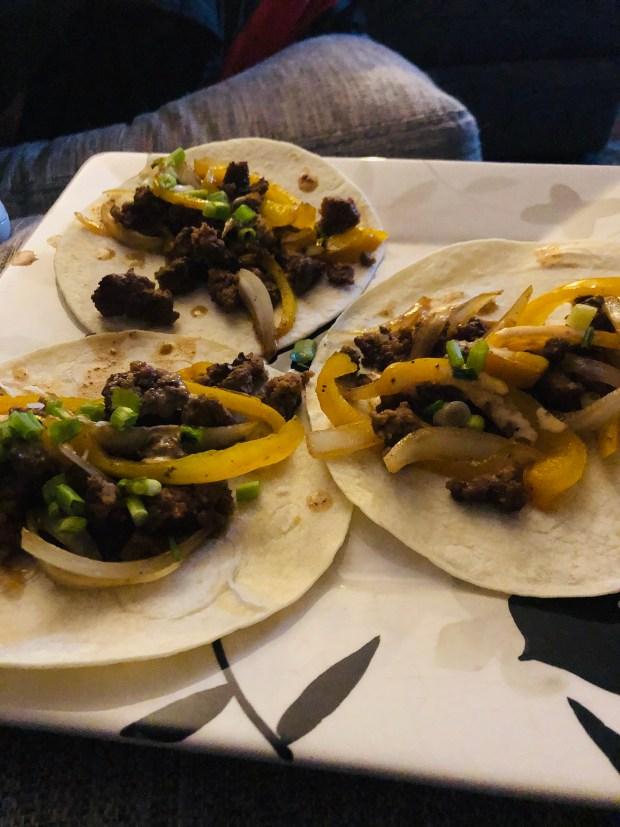 Beef fajita tacos from Hello Fresh