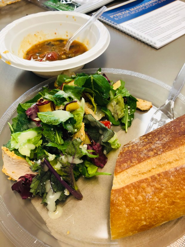 Salad, vegetable soup, and bread