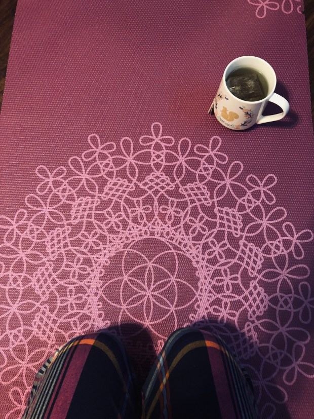 Yoga mat and green tea