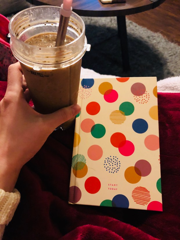 Breakfast smoothie and Start Today journal