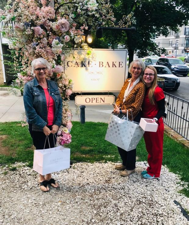 Mom, Aunt Rhonda, and I at Cake Bake Shop