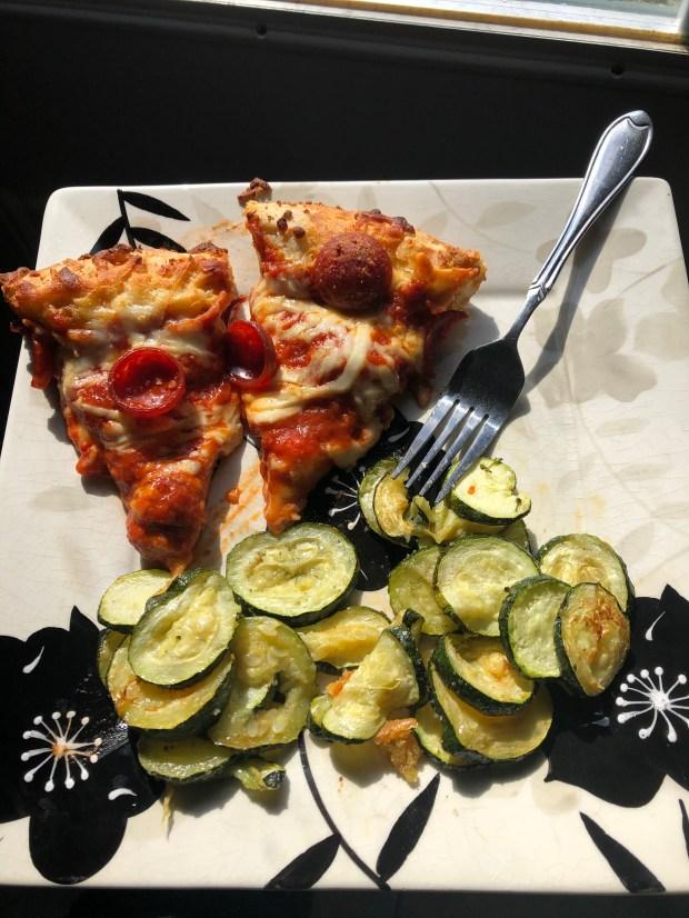 Pizza and zucchini