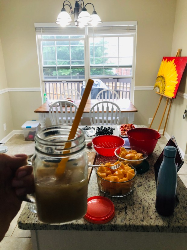 Iced coffee and meal prepping