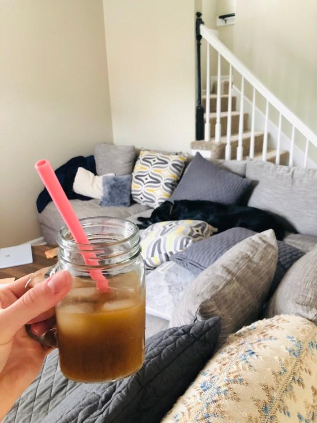 Iced coffee and Chance sleeping