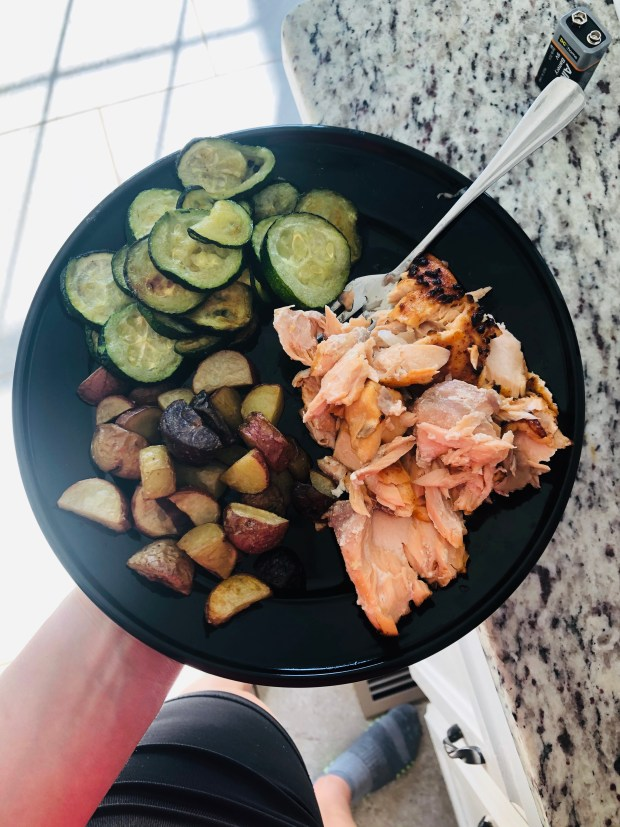 Salmon, potatoes, and zucchini