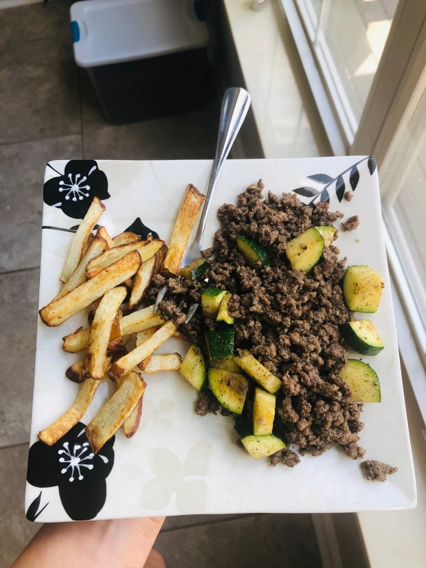 Ground beef and zucchini and homemade fries
