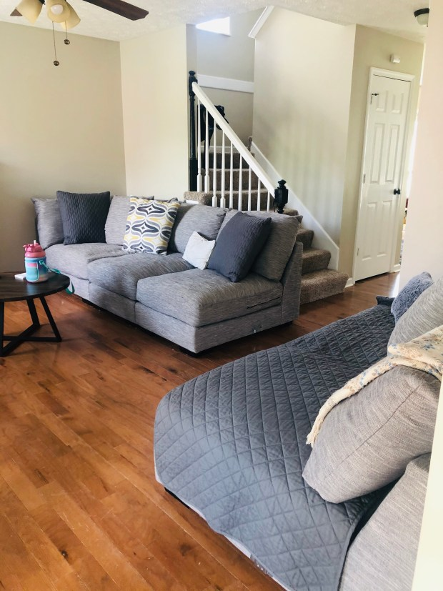 Clean living room with couch