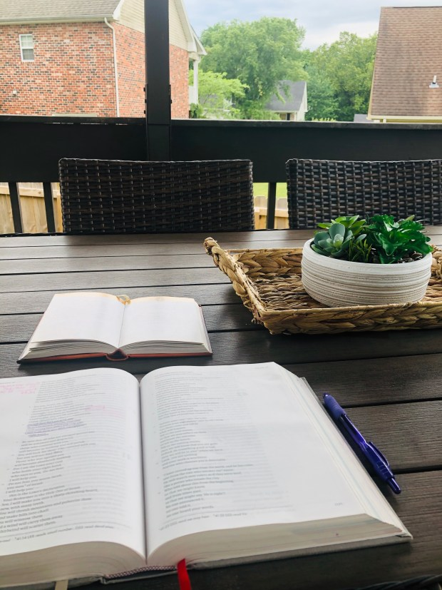 Morning devotionals on porch