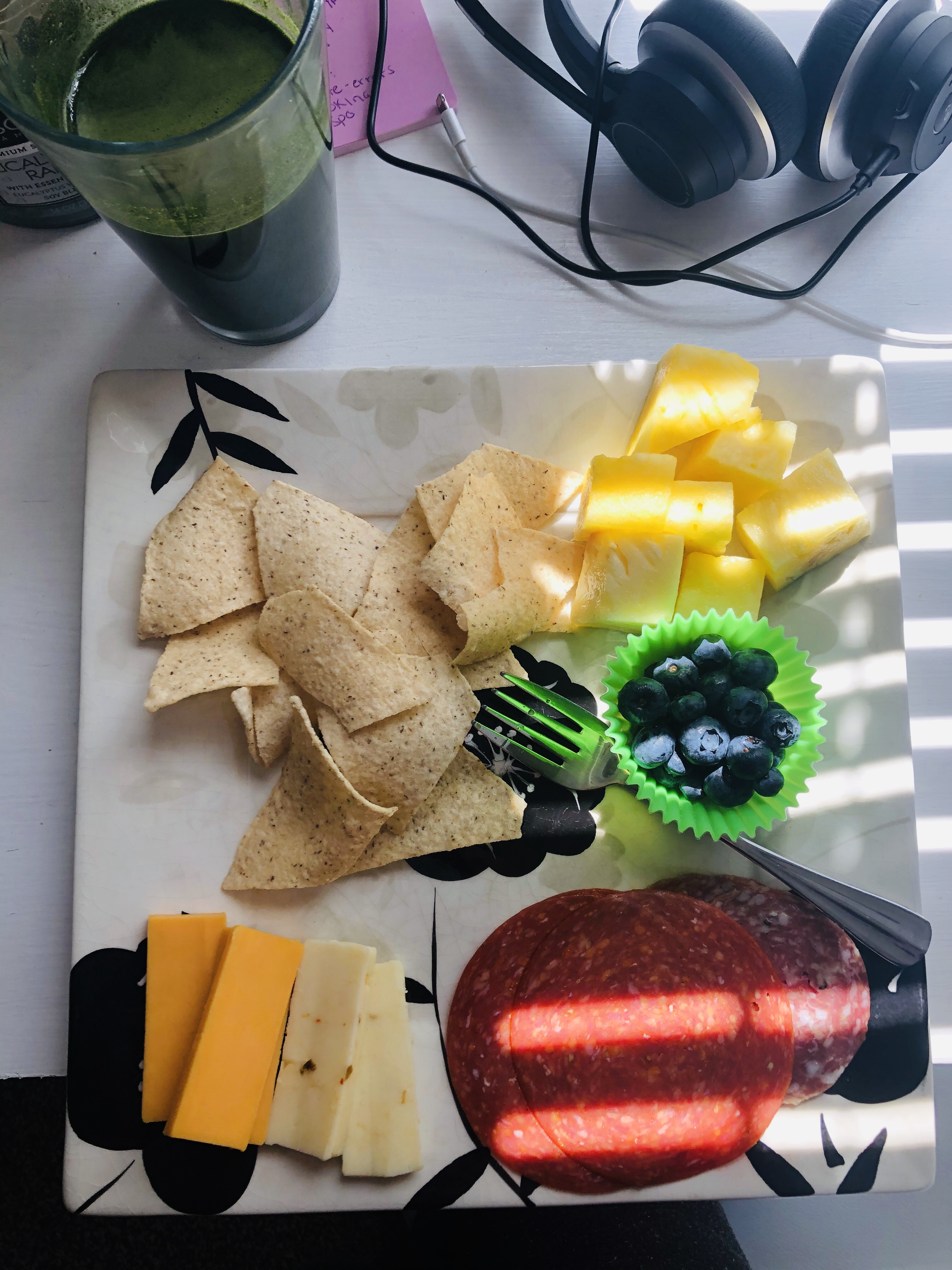 Chips, fruit, cheese, pepperoni