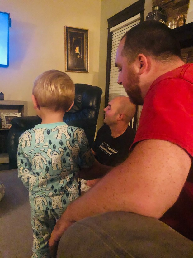 Kyle, JJ, and Jacob watching TV
