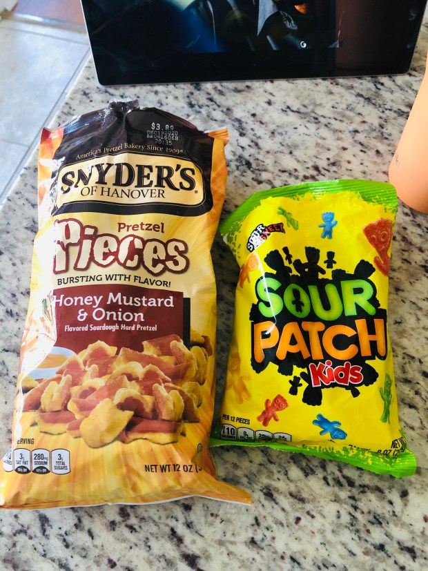 Honey mustard pretzels and sour patch kids