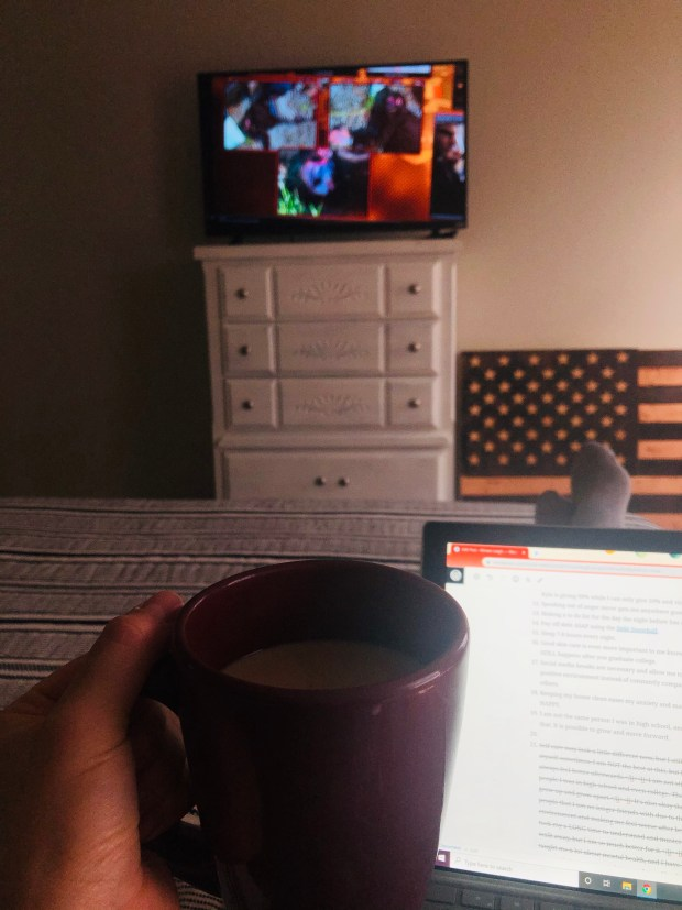 Coffee, tablet, and TV