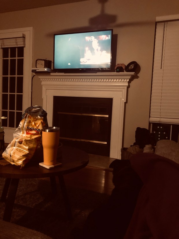 Watching movie in living room