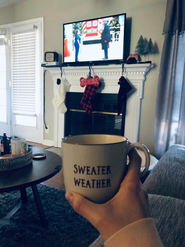 Cup of coffee in Christmas living room