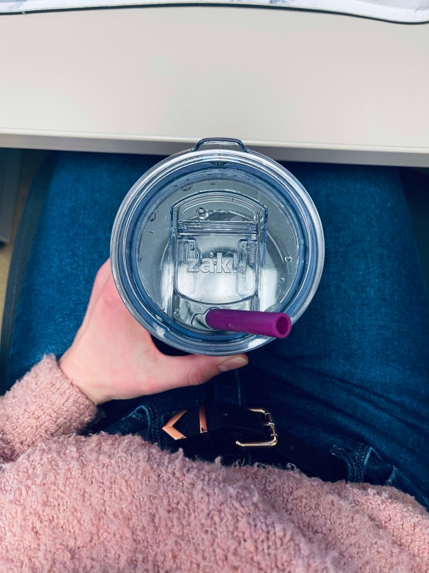 Sitting at my desk with water