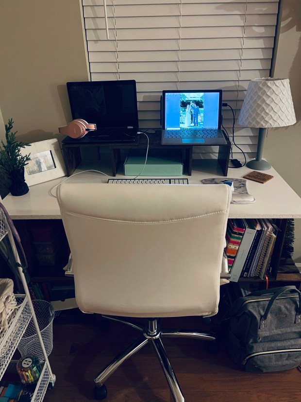 Work from home desk set up