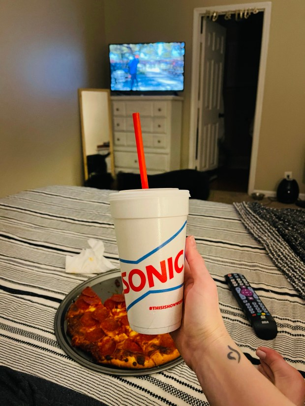 SONIC drink and pizza and movie night