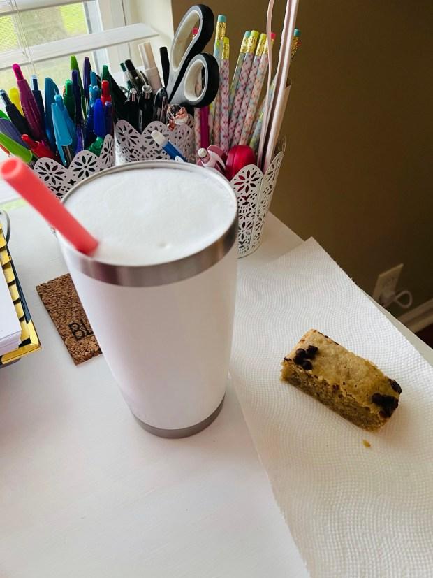 banana bread and iced coffee