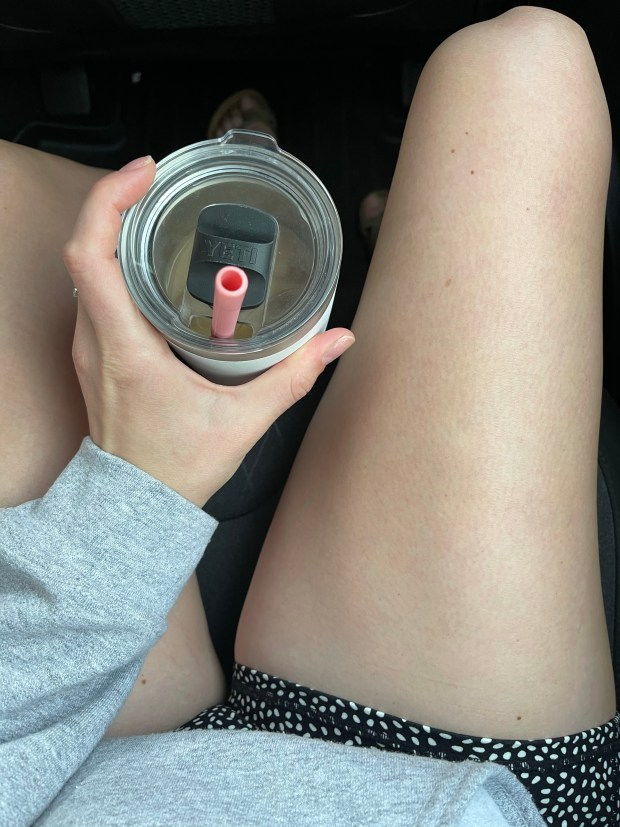 iced coffee and road trip outfit