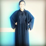 My friend Rachel modeling her very own abaya - only problem is that she isn't wearing her scarf!
