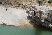 Jumping into the wadi!