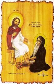 2. Sf Paisie cel Mare spalnd picioarele Domnului Iisus, in chilia sa.