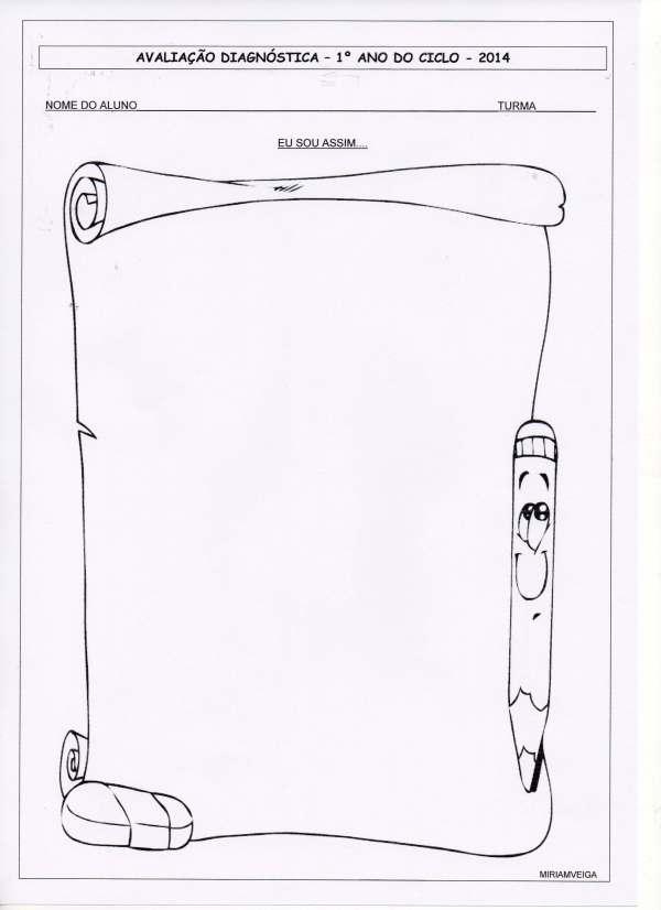 Avaliação diagnóstica - 1º anos - Desenho