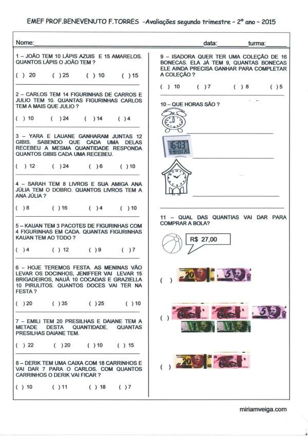 Avaliação Matemática 2º ano 2º trimestre