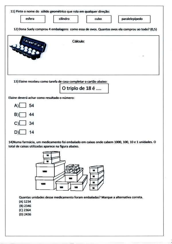 Avaliação de Matemática - 3º ANO Ensino Fundamental - Parte 4