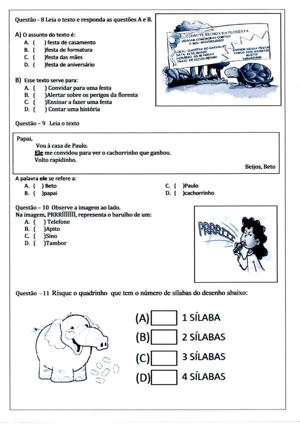 Avaliação de Língua Portuguesa - 3º ANO Ensino Fundamental com questões de interpretação - Parte 5