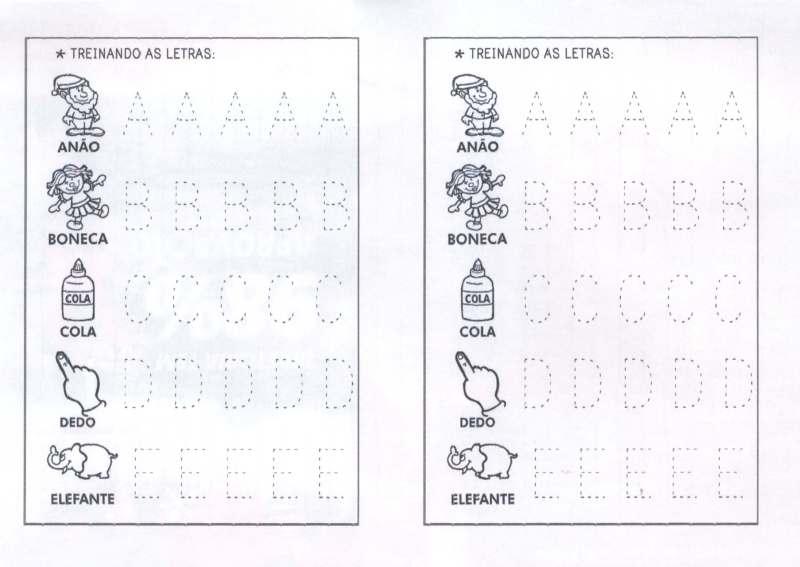 Letras pontilhadas para contornar de A a E