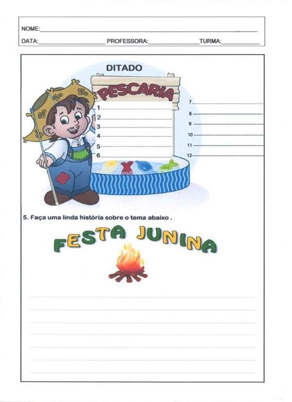Festa Junina Leitura e Interpretação 2-Ditado. Leitura e Interpretação Junina - Folha 03 - Ditado