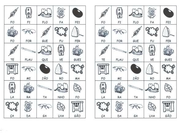 Desenhos com sílabas para montar F-G - Folha 01