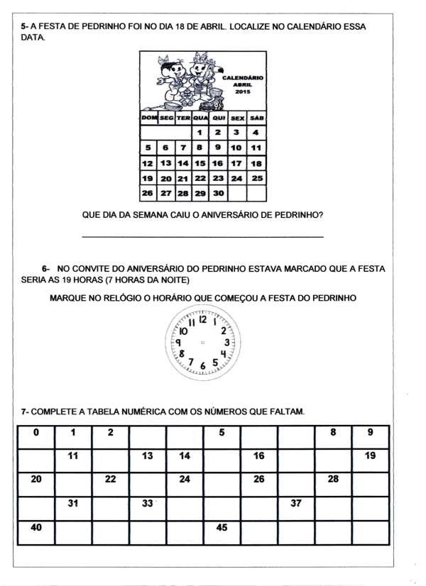 Avaliação de Matemática-2 Ano-Parte 2-Folha 1