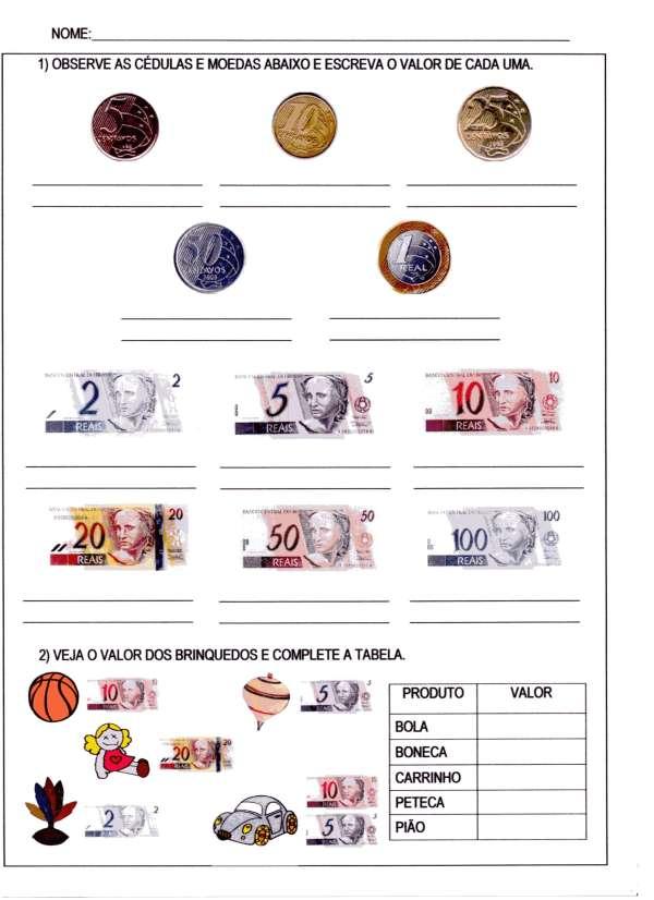 Atividade de Sistema Monetário-Parte 1 - Folha 1