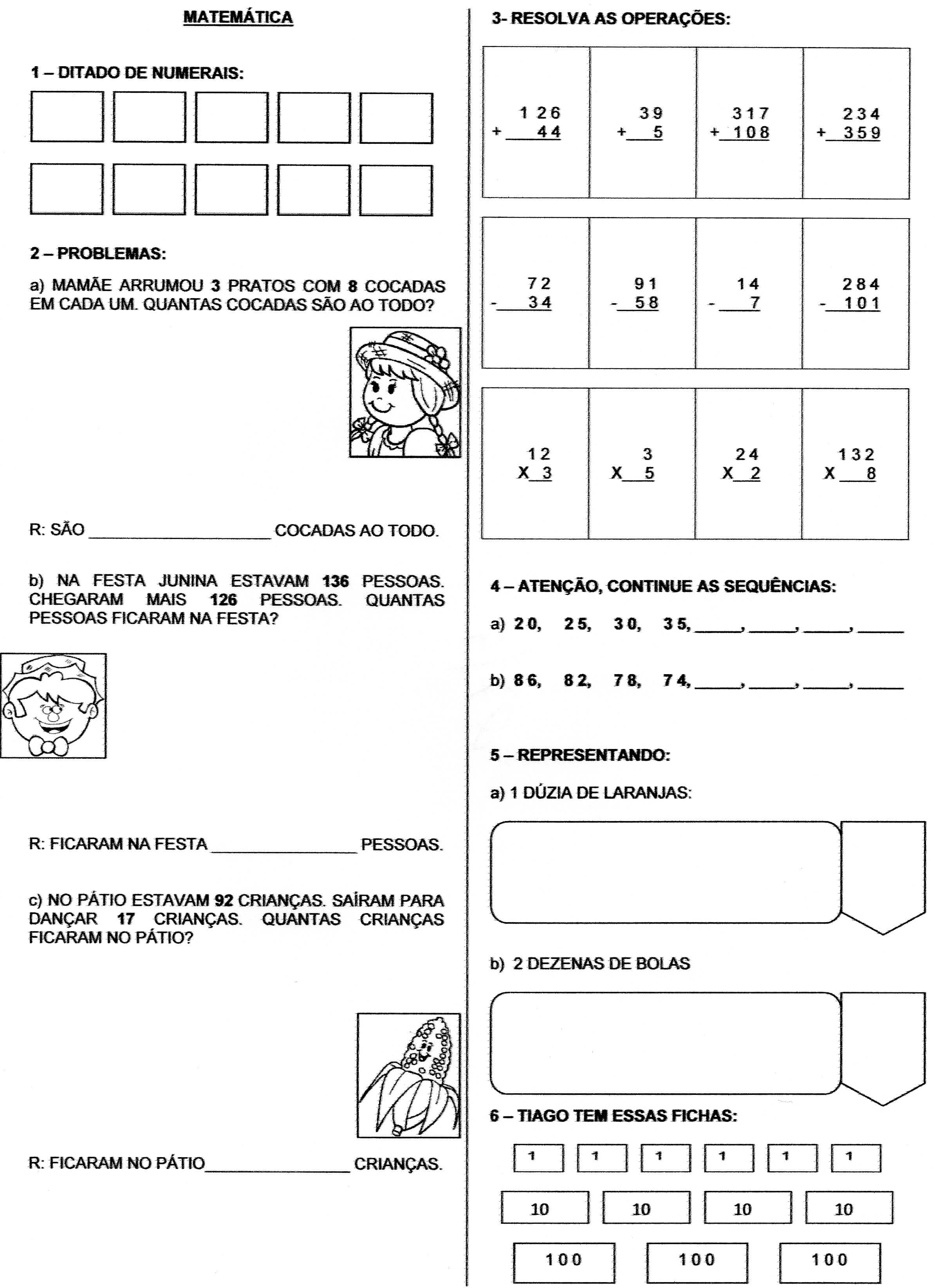 Atividade De Matematica Adicao E Subtracao Alfabetizacao Blog