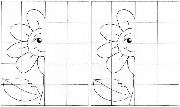 Complete as figuras - Flor e pessoa - Simetria-Folha 01