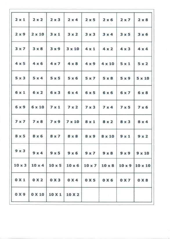 Bingo da Multiplicação-Folha 2