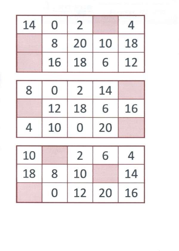 Bingo da Multiplicação-Folha 4